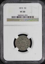 1872 Shield Nickel NGC VF-20 -126994