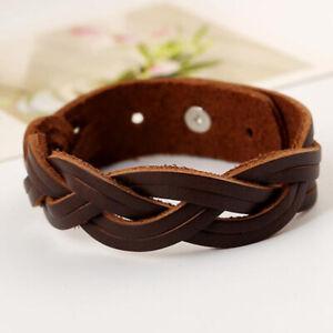 Punk Mens Black Brown Braided Leather Bracelet  Bangle Wristband Cuff Jewelry