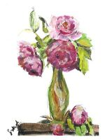 Print Of original watercolour art vase of peonies impressionism shabby chic pink