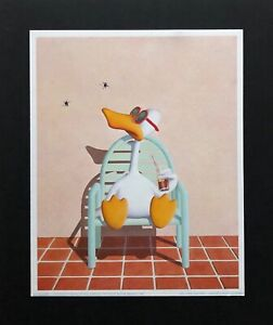 "Orig. ""SITTING DUCK"" Rare 1st Prtg. MINI-POSTER~M. Bedard ©1982 Luna Art~MOUNTED"