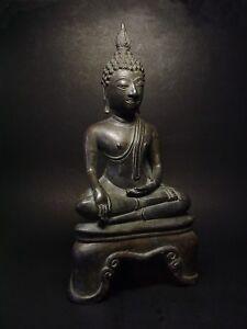 RARE BRONZE MEDITATING SAKYAMUNI BUDDHA. 'KAMPHAENG PHET' STYLE. THAILAND 19th C