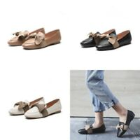Women's Bows Leather Loafer Round Toe Flats Casual Soft Sole Shoes Plus Size