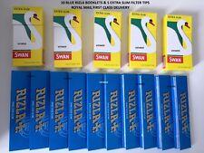 10 RIZLA KING SIZE BLUE SLIM  BOOKLETS &  5 FULL BOX SWAN EXTRA SLIM FILTER TIPS