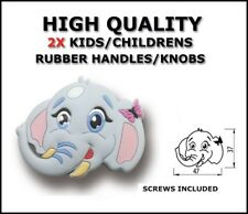 KNOBS HANDLES RUBBER CHILDREN WARDROBE CABINET CUPBOARD  ELEPHANT SET OF 2