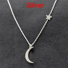 Moon Star Pendant Choker Necklace Gold Silver Long Chain Women's Jewelry 3c Gold