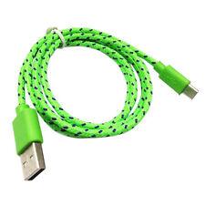 2M Datenkabel Ladekabel Micro USB Kabel Samsung HTC LG Sony Nylon Kordel Grün