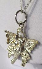 pendentif collier chaîne bijou couleur argent poli fée papillon relief 170
