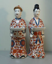 "Huge 18.5"" Pair of Hand Enameled Chinese Porcelain ""Ancestors"" Figures"