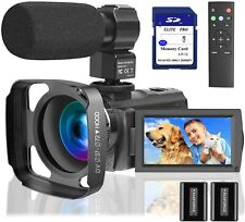 Video Camera Camcorder with Microphone 1080P,  64 GB Memory Card Vlogging IR Nig