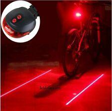 E47R Bicycle Bike Rear Tail Safety Warning 5 Red LED & 2 Laser Flashing Lights
