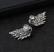 Aretes Alas de Angel con Diamantes Para Mujer y Niña Bañado en Plata ~ Earrings