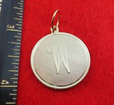 """14 KT GOLD EP LARGE(OVER 1"""") ROUND INITIAL DISC LETTER W PENDANT CHARM"""