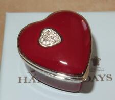 Halcyon Days Diamond Sterling Silver Red Enamel Sterling Silver Heart Box Rare