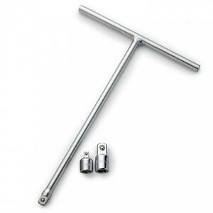 """3/8"""" T-Handle Long Reach Wrench w/ 2 Adapters"""
