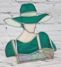 Teal Stained Glass Lady Woman Business Card Holder Fashion Very Unique!