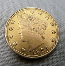 24K GOLD PLATED 1883 RACKETEER LIBERTY V MODERNLY PLATED VERY FINE NICKEL