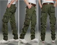 Men Cargo Military Combat Pants Muti-Pockets Comfort Straight Leg Trousers 28-40
