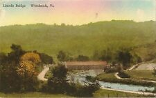 Postcard VT Vermont Woodstock Lincoln Bridge Windsor County Hand Colored