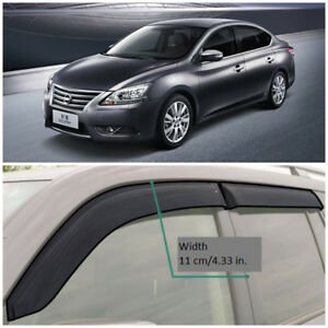 NE15014 Window Visors Vent Wide Deflectors For Nissan Sentra (B17) 2014-2017