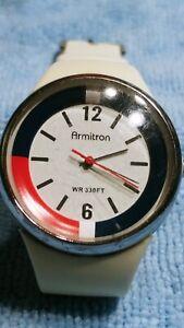 AWATCH Watch by Armitron Acrylic Case White Black Band