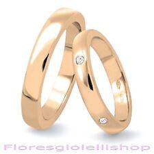 Coppia di fedi nuziali oro rosa 9 carati - francesina con 5 diamanti carati 0.05