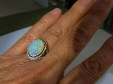 14K WG LARGE Beautiful BEST Effervescent Opal and Diamond Ring - sz 6.5