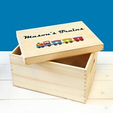 Personalised Kids Toy Trains Storage Wooden Toy Box with Lid, Train Set Toy Box