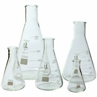 Glass Flask 5 Piece Set, Narrow Mouth Erlenmeyer, Borosilicate 3.3 Glass, 213B2