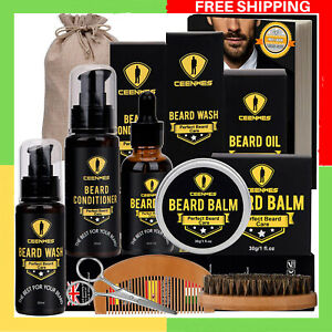 Men Beard Care Kit Growth Grooming Trimming Oil Shampoo Brush Comb Gift For Him