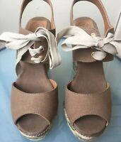 Tory Burch Linley Brown High Platlform Espadriles Wedges Peep Toe Sandals Sz 9.5