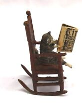 1900 AUSTRIAN BRONZE, A CAT SITTING ON A ROCKING CHAIR READING TIMES  MAGAZINE