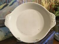 Antique Vintage French White Ironstone Pottery Chafing Pie Casserole Deep Dish