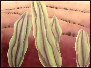 "Nancy Denison ""Yellow Cacti"" Signed Hand Colored Serigraph Fine Art Original OBO"