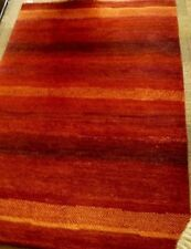 Nepal Hand Knotted Handspun Yarn Wool Crafted Rug Reds & Oranges 4ft x 6ft