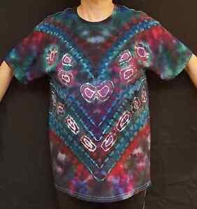 Handmade Unisex L Ice Tie Dye T-Shirt Gildan Crew Short Sleeve 100% Cotton Green
