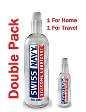 Swiss Navy Silicone Premium Lubricant Double Pack -16oz & 2oz Toy Safe Lube