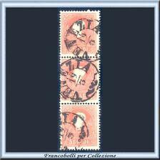 Italia ASI 1858 Lombardo Veneto Striscia di tre 5 soldi rosso n 25 Usato Antichi