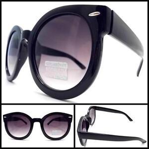 Herren Damen Trendy Vintage Rund Übergröße Mode Sonnenbrille Schwarz Rahmen
