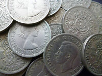 TWO SHILLING COINS PACK OF 10  COINS DATES RANGE  TEN DIFFERENT DATES 1947-1967.