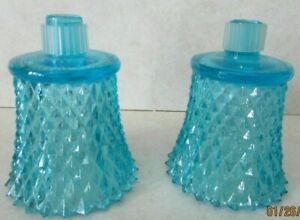 Aqua Blue Glass Diamond Point Peg Votive Cup Candle Holders Homco - Set of 2