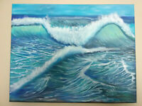 Original Acrylic Painting  Beach Wave Seascape 16x20 Stretched Canvas