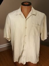 Tommy Bahama men's size large 73% silk floral Hawaiian camp shirt cream color