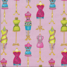 Colourful Dress Making Mannequins White Dots on Pink Quilting Fabric FQ or Metre