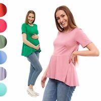 Women's Pregnancy Maternity Top Short Sleeve Crew Neck Flared bottom