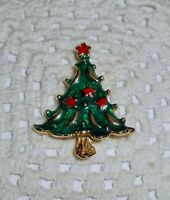 Vintage AAi Signed Enamel Christmas Tree Brooch Pin Gold Tone  C11