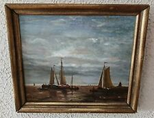 Antique Maritime Seascape Oil Painting Fishermen at Sea in Sailboats Signed Art