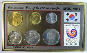 1988 Olympics Seoul Korea Brilliant Uncirculated 6 Coin & Stamp Set