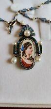 18K Gold Necklace.72 Kokoshnik Russian Antique Faberge Enamel,Diamond, Pearls