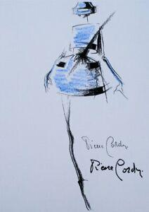 Pierre Cardin: Dress Short Blue - Illustration High Sewing Pastel, 1988