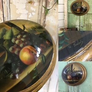 Convex STILL LIFE FRUIT  Antique Style Vintage Picture Oval Wall Plaque